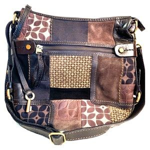 Fossil Leather and Suede Patchwork Purse